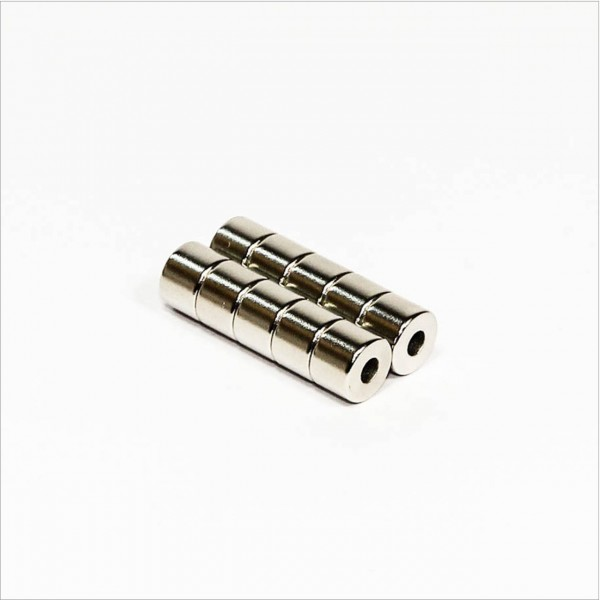 D8,5-d3,2x6mm - 40SH NdFeB Ring Magnet - NiCuNi