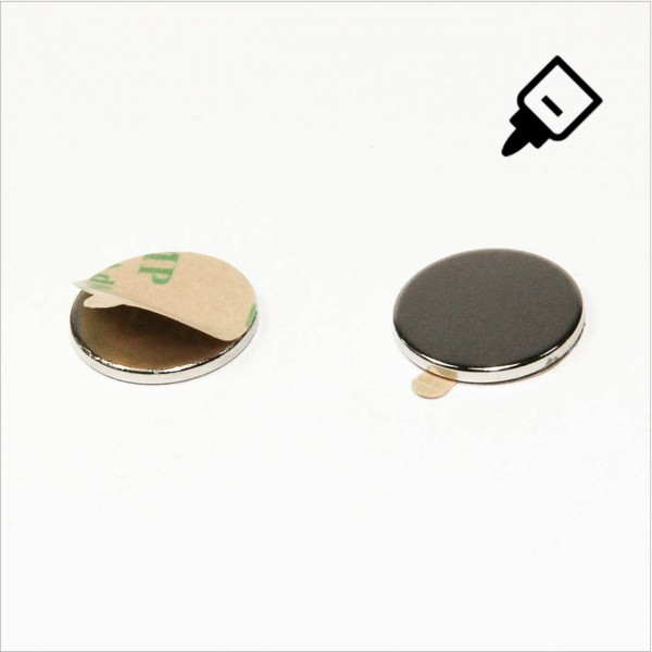 D15x1,5mm - N35 NdFeB Scheiben Magnet mit 3M Tab - NiCuNi - Süd
