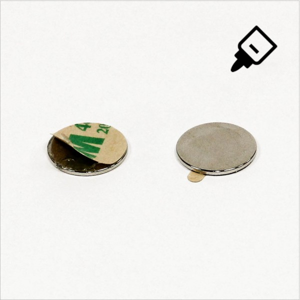 D15x1mm - N42 NdFeB Scheiben Magnet mit 3M Tab - NiCuNi - Süd
