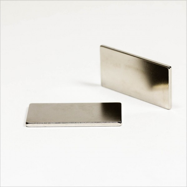 40x20x2mm - N40 NdFeB Quader Magnet - NiCuNi