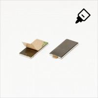 20x10x1,5mm - N35 NdFeB Quader Magnet mit 3M Tab - NiCuNi - S�d