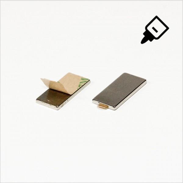 20x10x1,5mm - N35 NdFeB Quader Magnet mit 3M Tab - NiCuNi - Süd