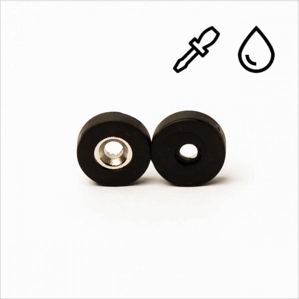 D15-d4x3,5mm - N35 NdFeB Ring Magnet mit Senkung - gummiert/wasserfest