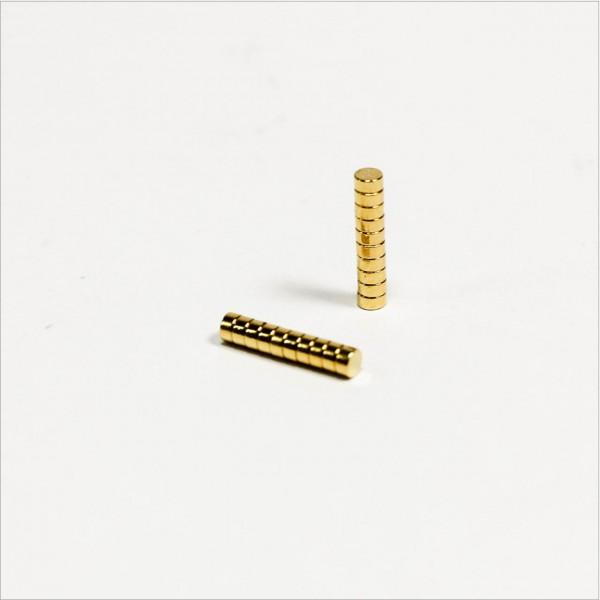 D2x1mm - N42 NdFeB Scheiben Magnet - Gold