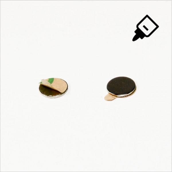 D8x0,75mm - N35 NdFeB Scheiben Magnet mit 3M Tab - NiCuNi - Süd