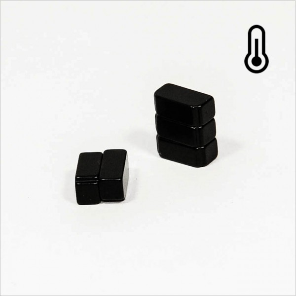 10x5x4mm 45SH NdFeB Quader Magnet mit Abstufung - Epoxy schwarz