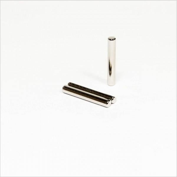 D3,9x25mm - N42 NdFeB Stab Magnet abgeflacht- NiCuNi