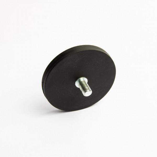 D66mm - gummiertes Magnetsystem mit Gewinde - schwarz