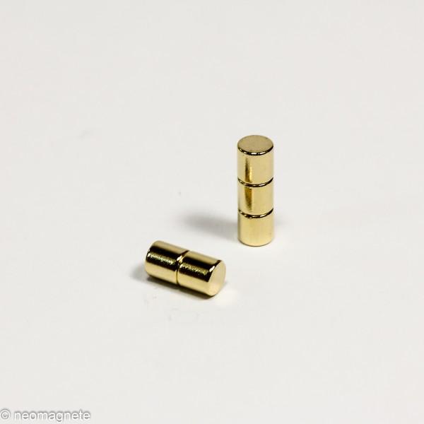 D4x4mm - N45 NdFeB Scheiben Magnet - Gold