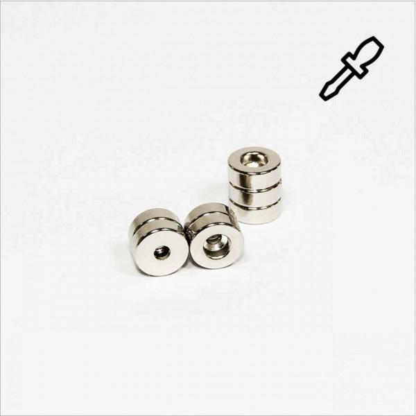 D8-d2,2x3mm - N45 NdFeB Ring Magnet mit Senkung - NiCuNi