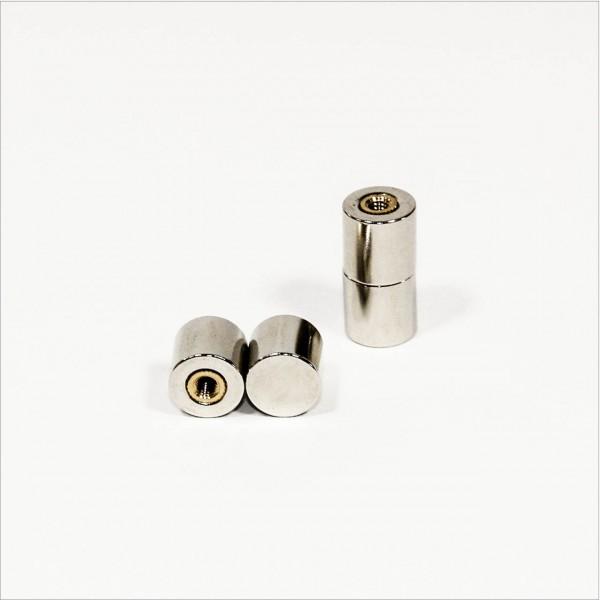 12x12mm - N45 NdFeB Scheiben Magnet mit Gewindetopf M4 - NiCuNi