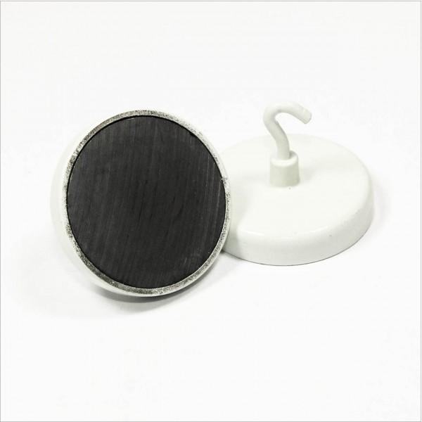 D50mm - Topfmagnet mit Haken - Ferrit - Weiß