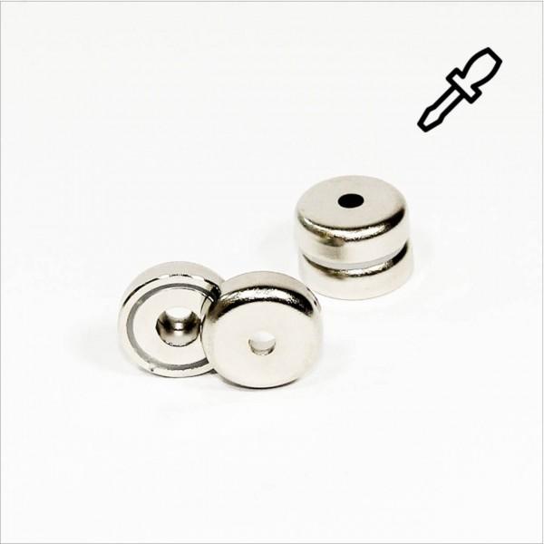 D25mm - N35 Topfmagnet mit Loch - NiCuNi
