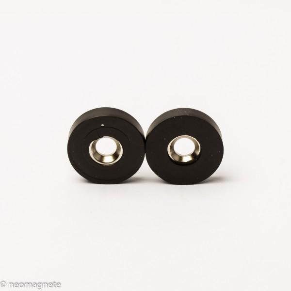 D25-d7x5mm - N35 NdFeB Ring Magnet mit Senkung - gummiert/wasserfest