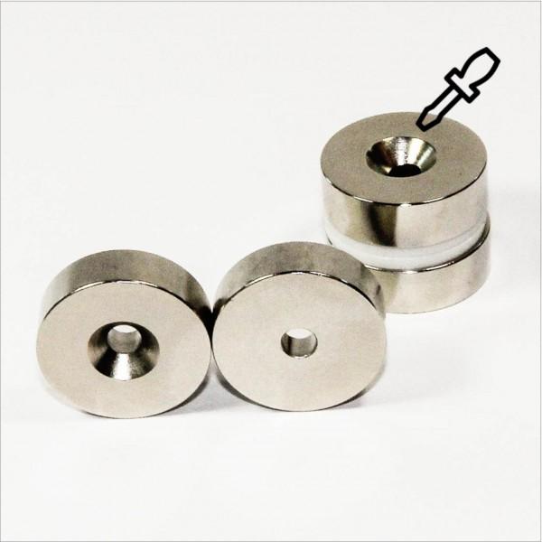 D32-d6,3x10mm - N40 NdFeB Ring Magnet mit Senkung N - NiCuNi