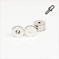 D23-d4,2x3,3mm - N42 NdFeB Ring Magnet mit Senkung N - NiCuNi