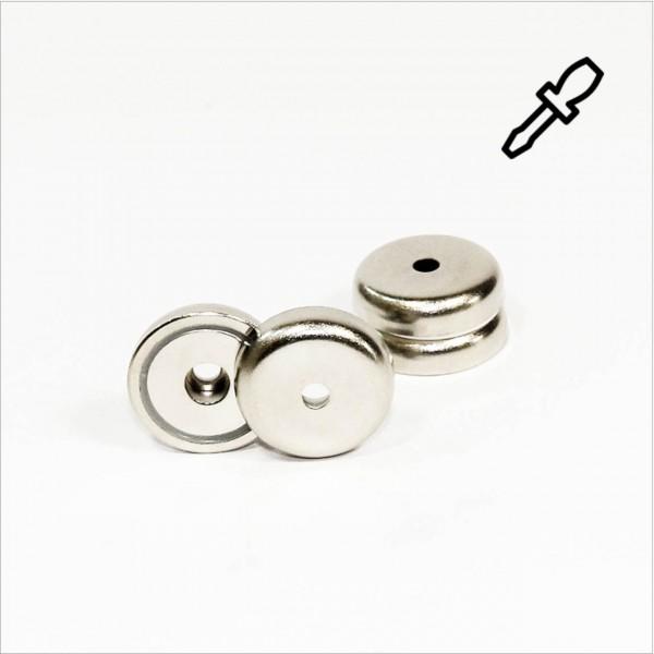 D32mm - N35 Topfmagnet mit Loch - NiCuNi