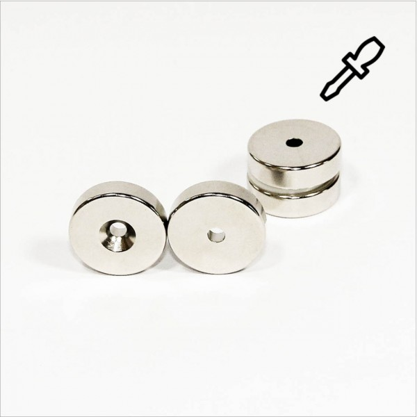 D25-d4,3x7mm - N40 NdFeB Ring Magnet mit Senkung N - NiCuNi