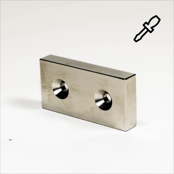 60x30x10mm - N40 NdFeB Quader Magnet - H - NiCuNi
