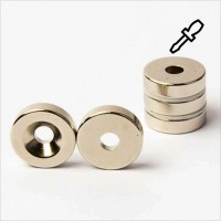 D15-d4,3x4mm - N45 NdFeB Ring Magnet mit Senkung S - NiCuNi