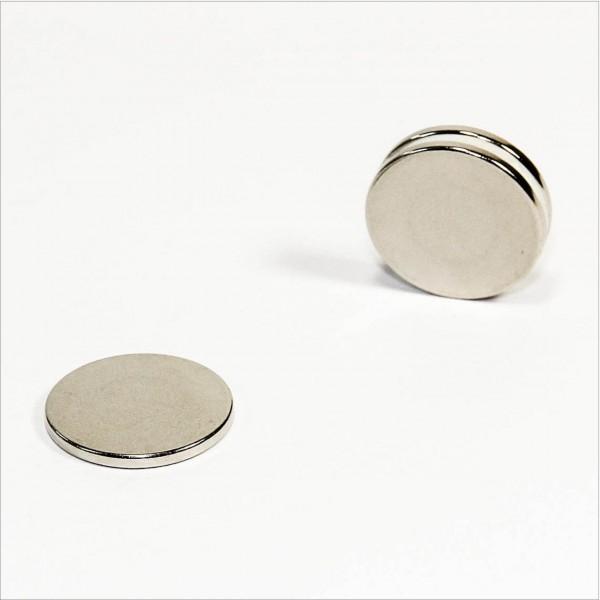 D23x2mm - N45 NdFeB Scheiben Magnet - NiCuNi