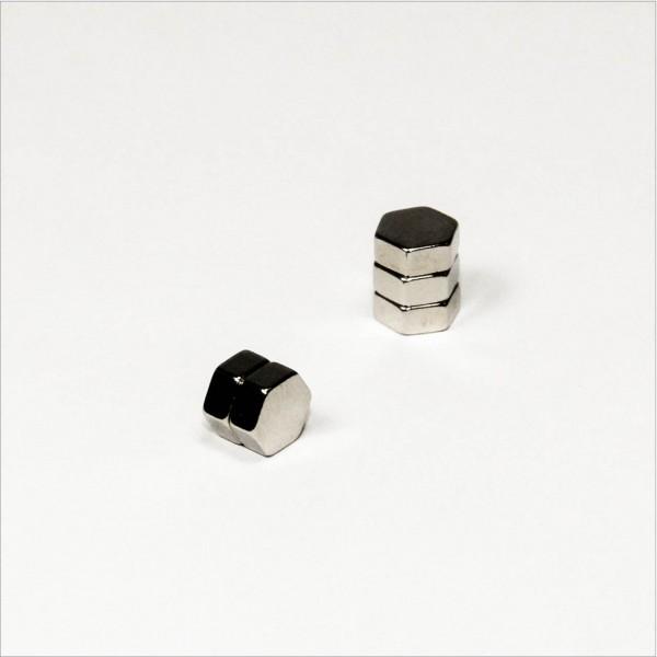 7x3mm - N48 NdFeB Sechseck Magnet - NiCuNi