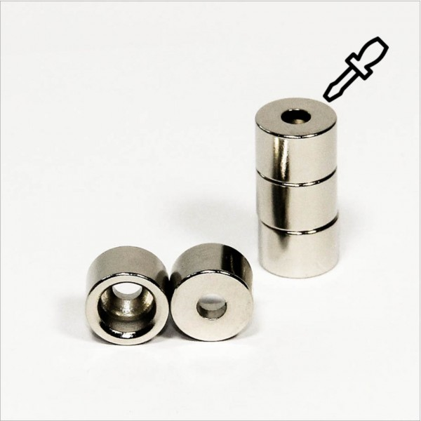D12-d4,2x8mm - N42 NdFeB Ring Magnet mit Aussparung S - NiCuNi