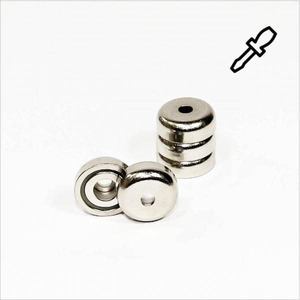 D20mm - N35 Topfmagnet mit Loch - NiCuNi