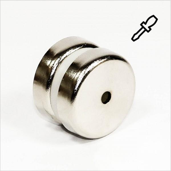 D60mm - N35 Topfmagnet mit Loch - NiCuNi
