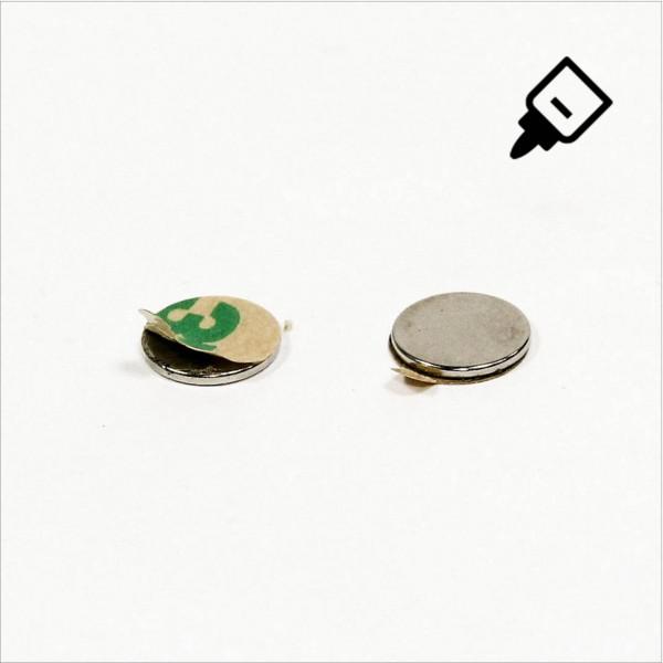 D10x1mm - N42 NdFeB Scheiben Magnet mit 3M Tab - NiCuNi - Nord